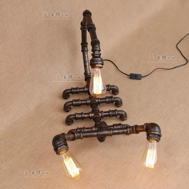 Retro Snake Scorpion Pipe Lamp Table Lamps American