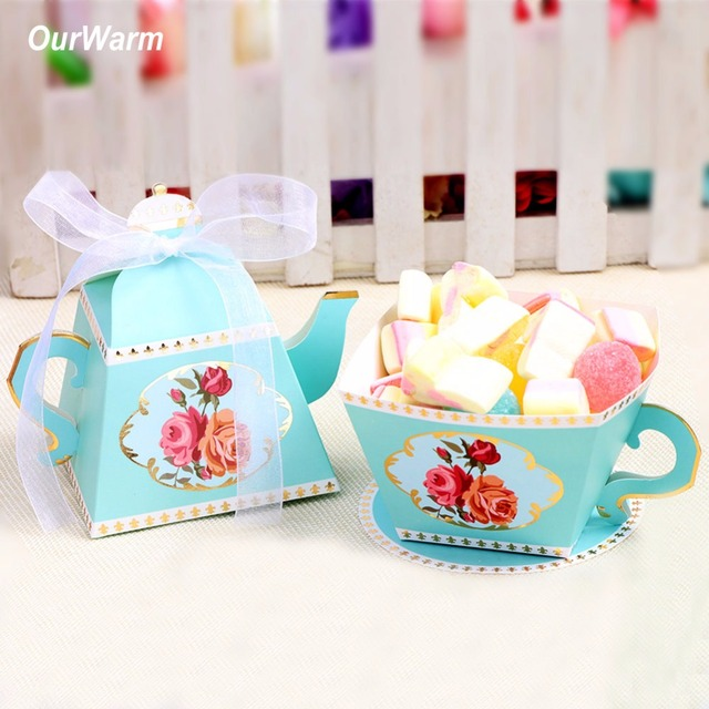 ourwarm 10pcs wedding gift candy box teapot party pattern bridal shower birthday party candy box for