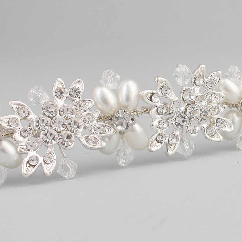 Miallo Luxus Klar Kristall Braut Haar Reben Perlen Hochzeit Haar Schmuck Zubehör Kopfstück Frauen Kronen Pageant HS-J4506
