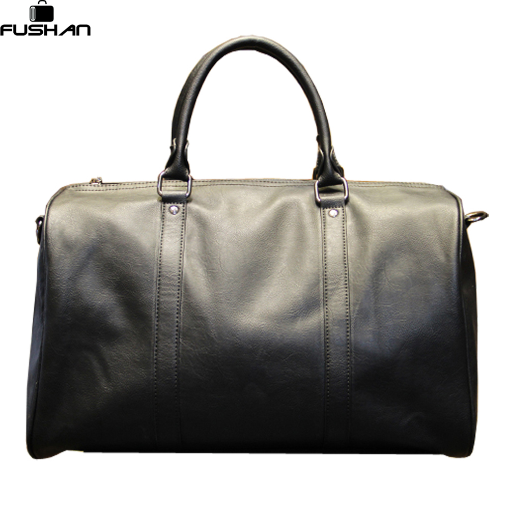 Fashion Mens Leather Travel Bag Vintage Duffle Handbags Large Men Business Luggage Bag With ...
