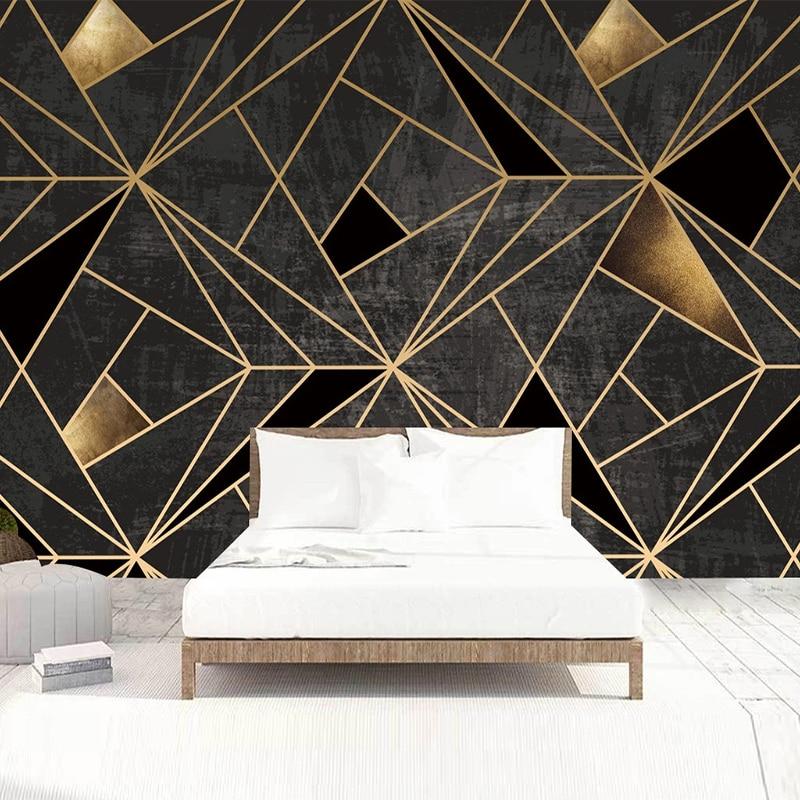 Modern Abstract Art Geometric Pattern Mural Wallpaper 3D Stereo Line Fresco Living Room TV KTV Bar Creative Decor Wall Paper 3 D