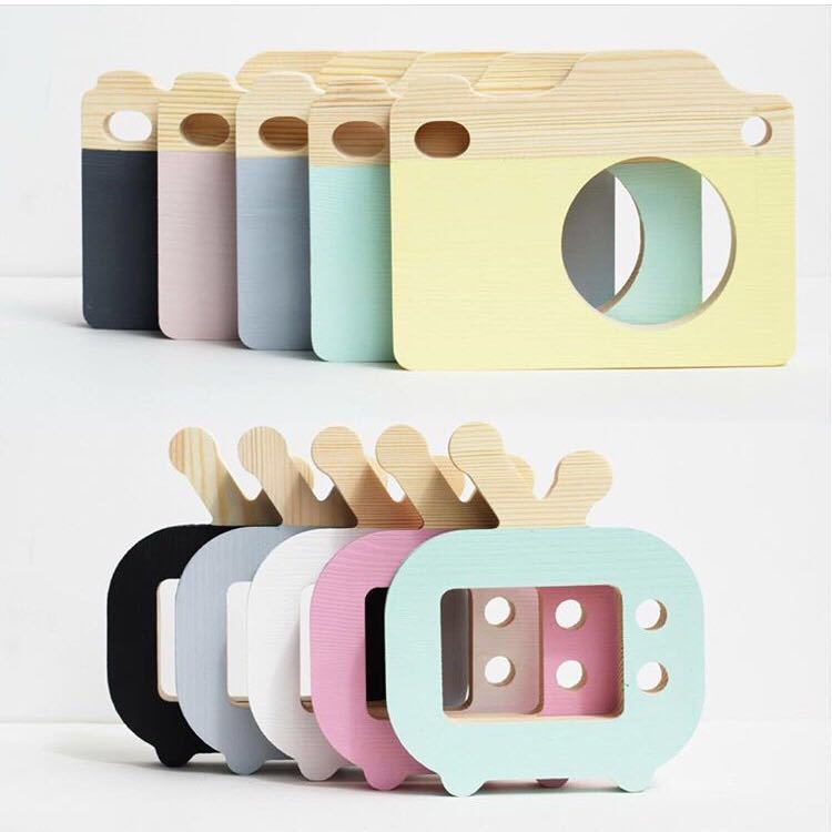 product Nordic Style Wooden Camera Furnishing Articles Dog Animal Cartoon Decoration Products Children Bedroom Household Decoration
