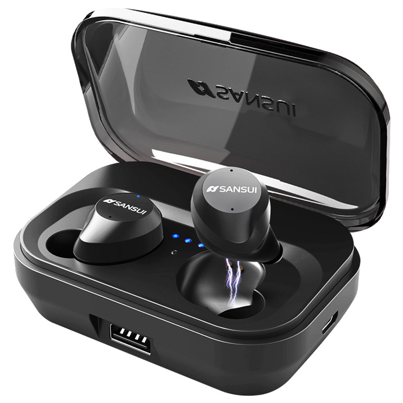5.0 Bluetooth Touch Control Hifi Earphone with Mic IPX7 Waterproof TWS Wireless Earbuds Stereo Mic for Phone with Power Bank