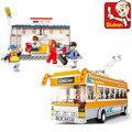 Educación de bricolaje juguetes para niños Sluban Building Blocks trolebús ladrillos autoblocantes Compatible con Lego