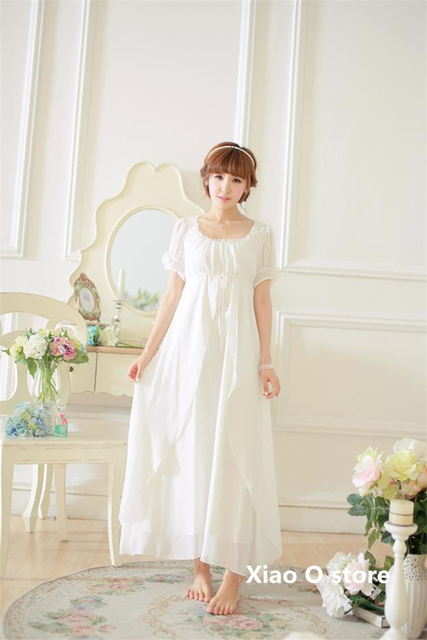 Summer Nightgowns High Quality White Simple Round Neck Long Home dress Vintage Women's Short-sleeved Nightdress