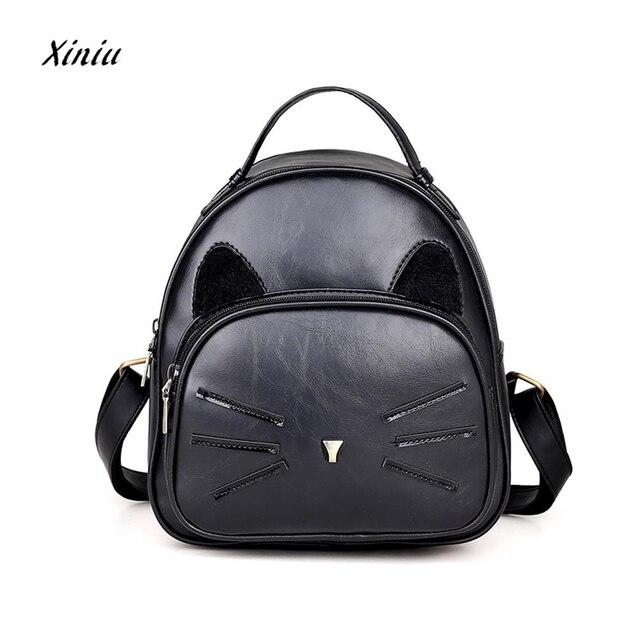 903070587be7 Women Backpack Girls Travel Rucksack Shoulder School Bag Teenagers Cute  Leather Cat Shoulder Bag Small Backpack