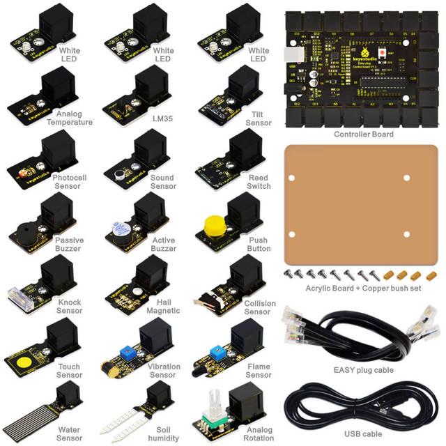 2016 NOVO! FÁCIL-plug iniciado aprendizagem kit para Arduino w/controlador + sensores + USB + Cabos + PDF