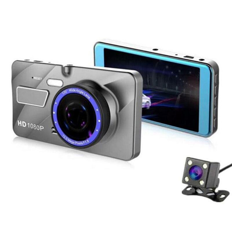חדש 4 אינץ רכב DVR המצלמה Full HD 1080P הכפול עדשת מקליט וידאו חניה צג אוטומטי מצלמה זיהוי תנועה-במודולי פליטה/יחידות בקרה מתוך רכבים ואופנועים באתר