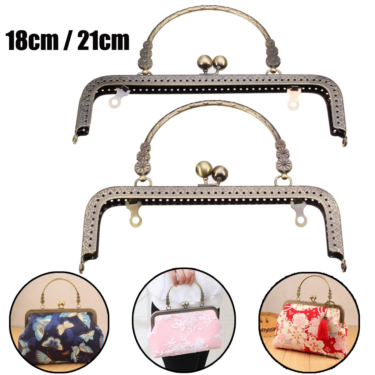 AEQUEEN 18/21CM Vintage Kiss Clasp Lock Arch Frame For Handbag Handle Purse Lock Coin Bag Accessories Parts Metal Handle