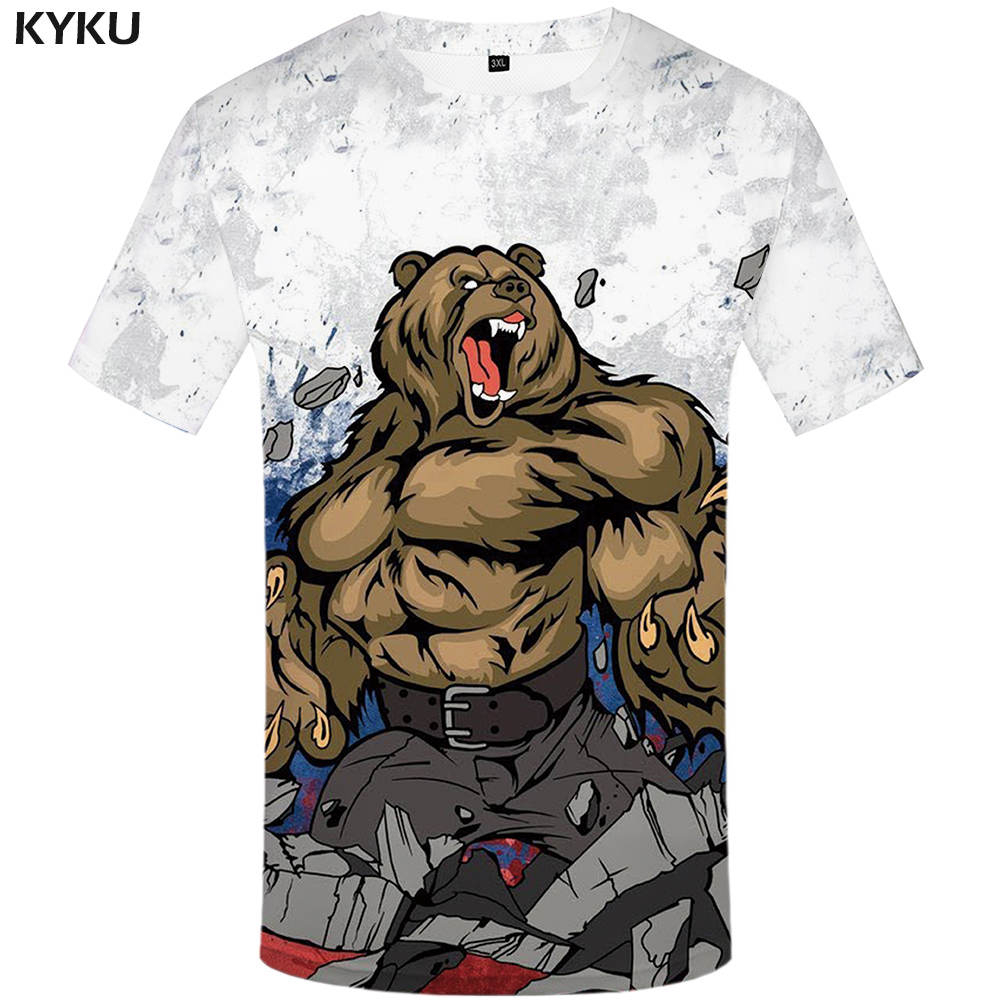 KYKU Brand Russia T-shirt Bear T Shirt Russian Flag <font><b>Tshirt</b></font> Fitness T Shirt Men 3d <font><b>Anime</b></font> <font><b>Tshirts</b></font> <font><b>Sexy</b></font> Male Shirts Mens Clothing image