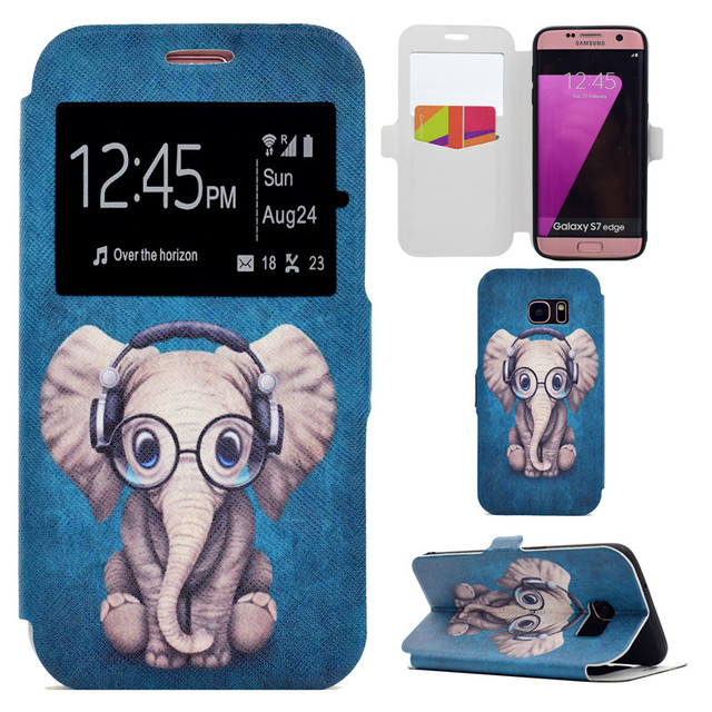 best cheap 8ca37 6d316 US $7.98 |Open Window Wallet Case For Samsung S7 Edge Music Elephant Phone  Coque For Samsung Galaxy S7 Edge Stand Cover Size Optional-in Wallet Cases  ...