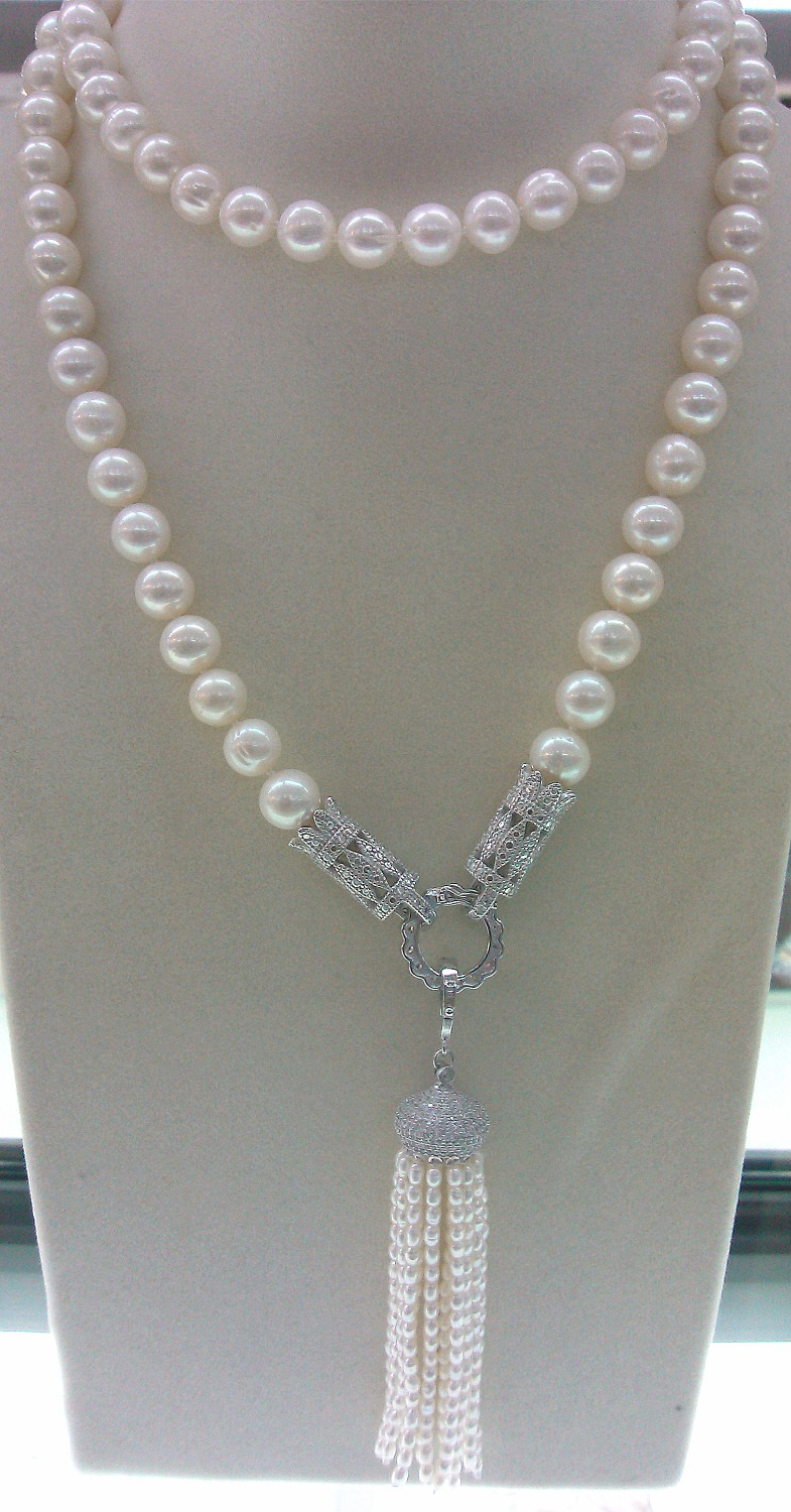 free shipping wholesale high quality natural AA 9-10mm white freshwater pearl and nice clasp necklace lg ga b 489 svqz