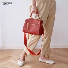 купить VENOF luxury genuine leather handbags for women roomy Boston bags ladies crossbody bags fashion shoulder bag for women 2019 new по цене 4390.72 рублей