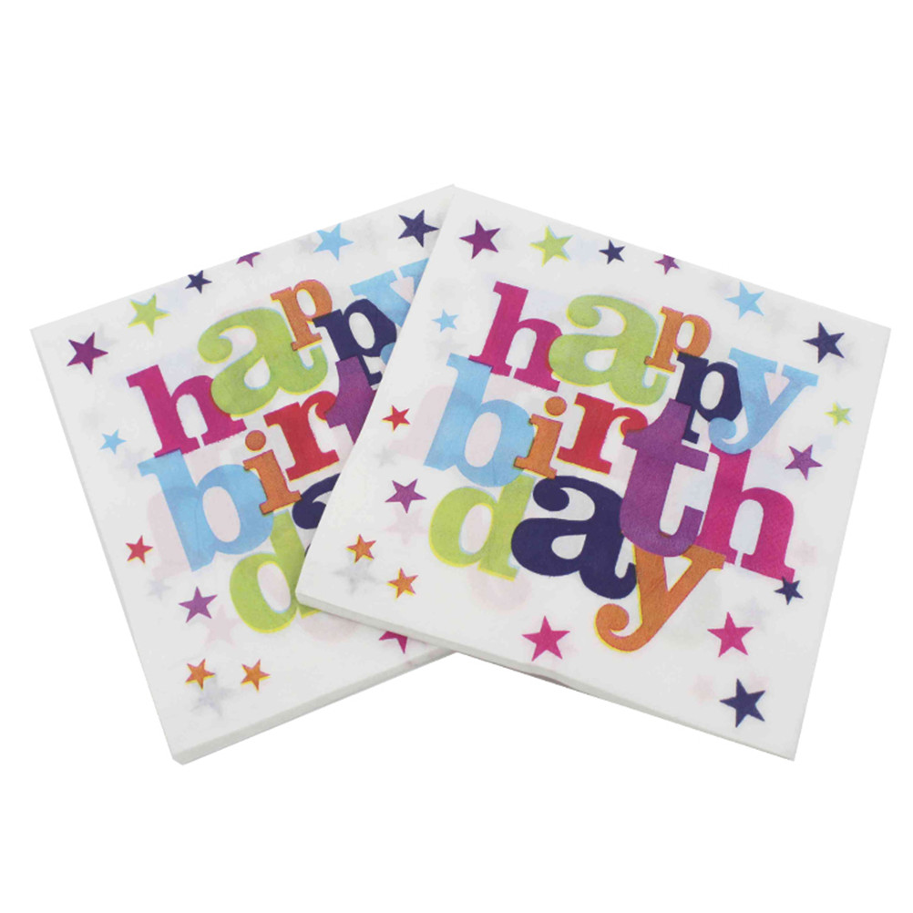 20pcs/pack/lot Printed Paper Napkin Happy Birthday Party Decoration Paper Festive & Party Tissue Napkin Supply