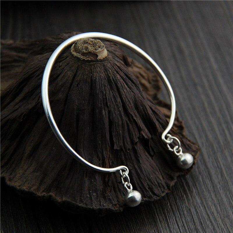 C & R Real 999 bracelet en argent Sterling bracelet pour femmes lisse cloches ouverture bracelets Thai bracelet en argent bijoux fins