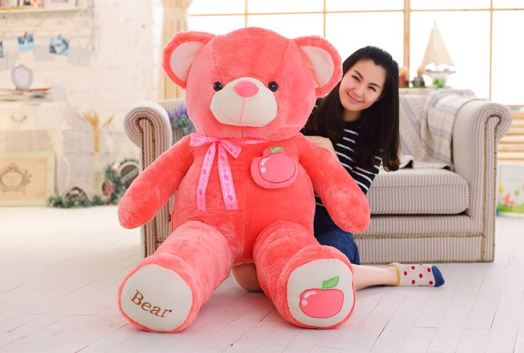 stuffed fillings toy huge 160cm hot pink apple fruit teddy Bear plush toy bear doll soft throw pillow Christmas gift,b0797 купить