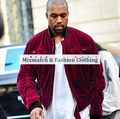 Kanye West Relaxed Fit Quilted Varsity Jackets Ruched Sleeve Self-Belt Vintage Wine Red Velvet Bomber