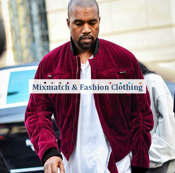 Kanye West Relaxed Fit Quilted Varsity Jackets Ruched Sleeve Self-Belt Vintage Wine Red Velvet Bomber