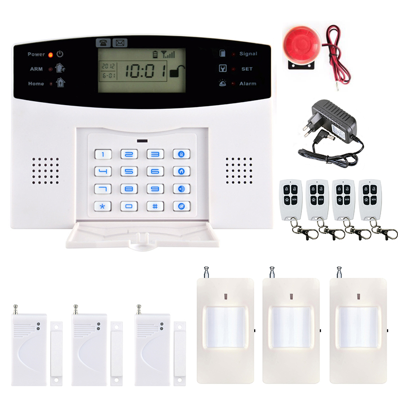 Hot Selling Security Alarm Wireless LCD GSM Alarm System Multi-language Voice Burglar Motion Infrared Remote Control  For Home wireless smoke fire detector for wireless for touch keypad panel wifi gsm home security burglar voice alarm system