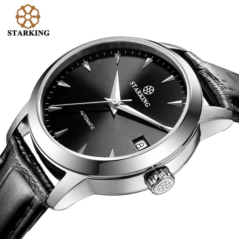 Starking women watches automatic watch Stainless Steel Sapphire crystal glass WristWatch Auto Date Genuine Leather Strap female стоимость