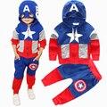 2016 Nova Chegada Do Bebê Meninos Roupas Terno pentagrama carta estrela Capitão América jaqueta Com Zíper + calças 2 pçs/set Crianças Definir das crianças