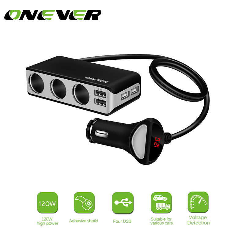 Onever 4 USB Port 3 Way Car Cigarette Lighter Socket Splitter Charger 120W Power 6.8A USB Car Charger Support Display Volmeter