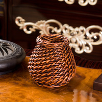 Handmade Storage Basket Wicker Hollow Pen Holder Office Desktop Stationery Bucket Cosmetic Sundries Makeup Container Case Gift