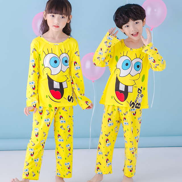 afbec4c812af NEW Autumn yellow girls boys pajamas kids clothes sets 3 13Y Pyjamas ...