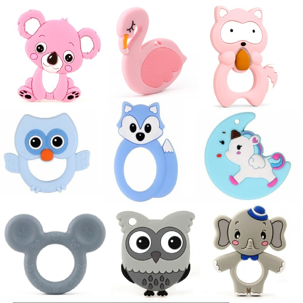 TYRY.HU 10pc Teether Food Grade BPA Free DIY Baby Teething Necklace Nursing Materials Silicone Animals Baby Teether Toy