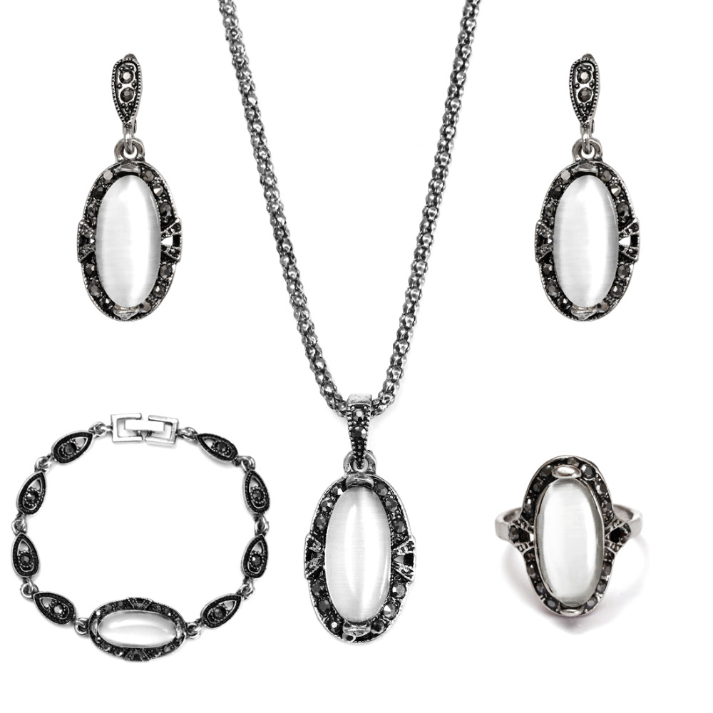 Elegant Vintage Opal Stone Jewelry Set Fashion Pendant Necklace Set Antique Silver 4Pc Jewelry Party Costume Jewelry Sets 13