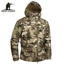 Mege бренд камуфляж Военное Дело Для мужчин куртка с капюшоном, акулы софтшелл армии США тактические пальто, multicamo, лесной, A-TACS, AT-FG