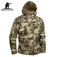 Mege Marke Camouflage Military Männer Mit Kapuze Jacke, Haifisch Softshell UNS Armee Taktische Mantel, Multicamo, Woodland, a-TACS, AT-FG