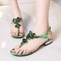 Nice Sweet Girls Flat Sandals Chunky Heels Bohemian Style Rhinestone Decorated Flip Flops Women Sandals Summer