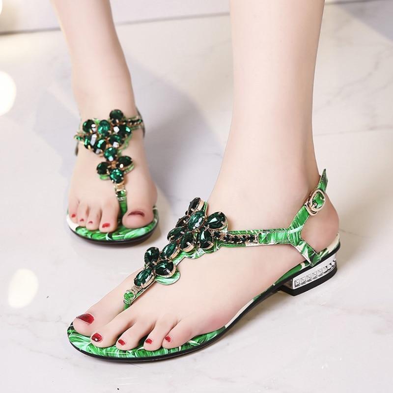 Nice Sweet Girls Flat Sandals Chunky Heels Bohemian Style Rhinestone Decorated Flip Flops Women Sandals Summer Ladies Shoes
