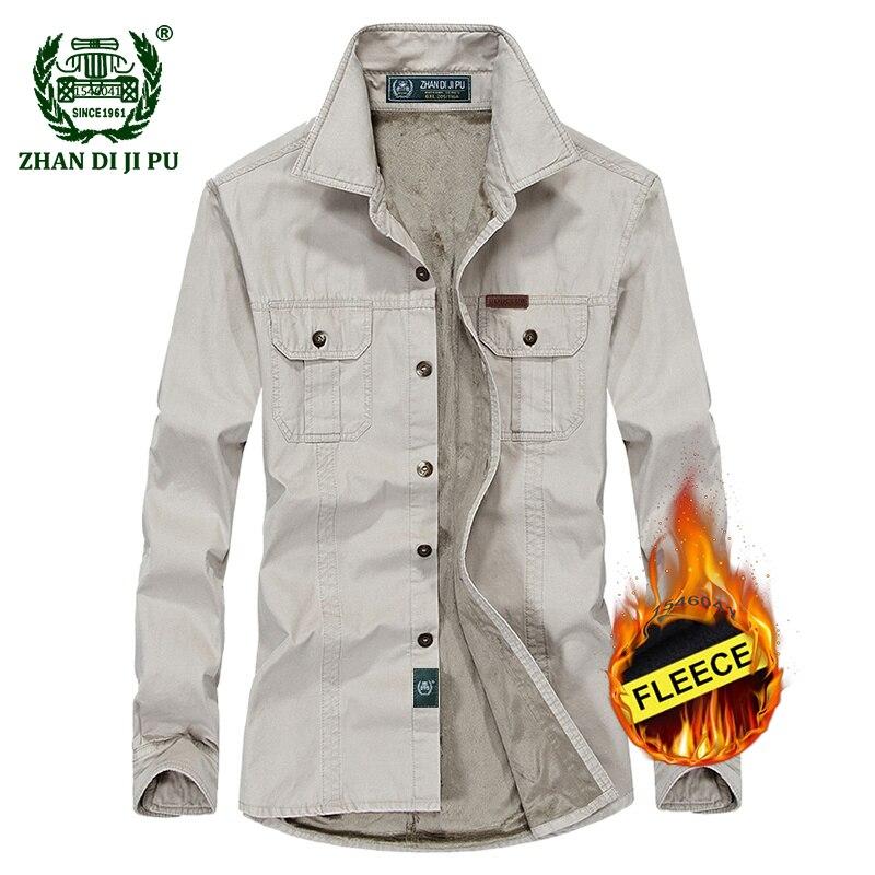 Плюс размеры M-6XL 2018 для мужчин зимние утепленные флисовые повседневное бренд армейский зеленый рубашка с длинными рукавами человек 100% хлоп