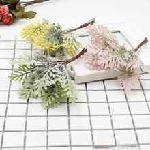 6Pcs /lot simulation leaf fake plant wedding christmas decoration DIY craft home flower