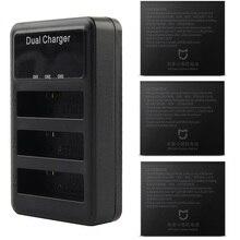 Mijia 4kのバッテリーデュアルバッテリー充電器3スロットlcd充電電池ケースxiaomi mijiaミニアクションスポーツカメラアクセサリー