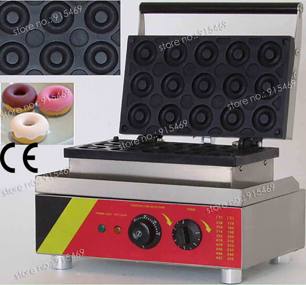 Free Shipping 15pcs Commercial Non-stick 110V 220V Electric Mini Donut Doughnut Machine Baker Maker free shipping commercial non stick 110v 220v electric 6pcs chocolate waffle cookies maker baker iron machine