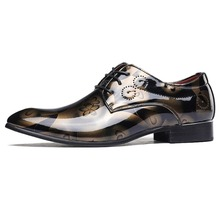 Fashion Men Flats Pointed Toe formal Oxford Luxury  Leather shoes Male Lace-Up Mens Dress shoes Plus size Italian designer shoes