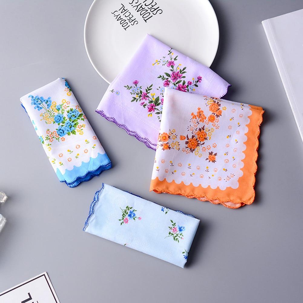 5Pcs Ladies Floral Embroidered Handkerchief Vintage Exquisite Lady Cotton Napkin Random Color Luxury Flower Women Handkerchief