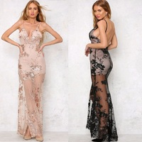 Party Maxi Dress Sling Evening Deep V Neck Backless Sequin Sexy Elegant Strap Dresses Vestidos Bodycon