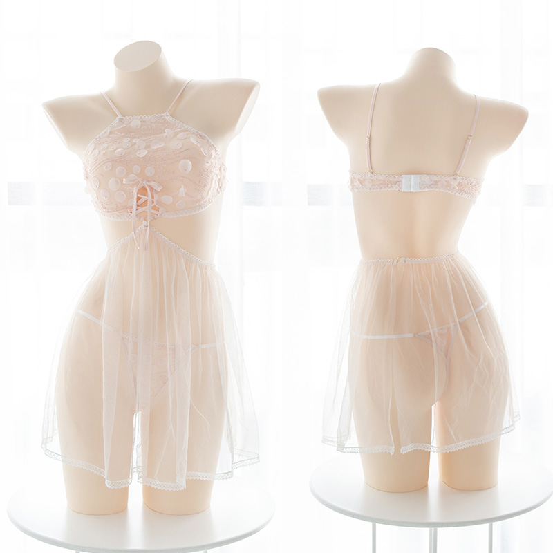 Sexy Maid Mesh Kawaii Lolita Lotus Root Starch Perspective Underwear Set Apron Nightdress Women's Transparent Lingerie Sleepwear