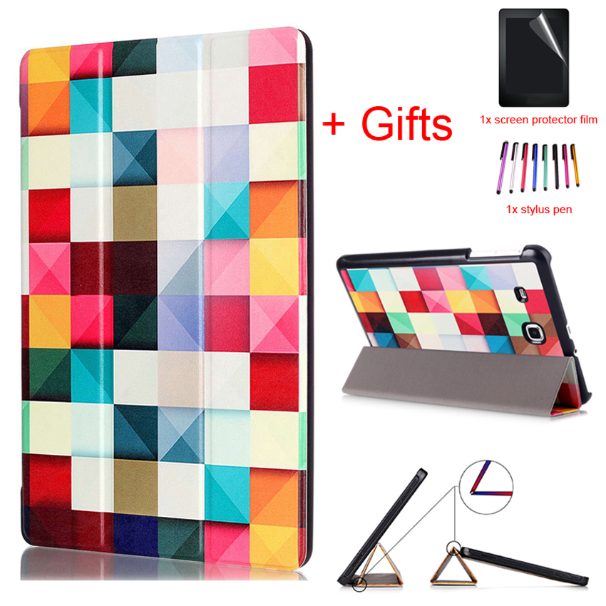 Fashion Case for Samsung Galaxy Tab E 9.6 T560 T561 Slim Folding Flip Stand Cover for Samsung Tab E 9.6 T560 shell+Film+Stylus