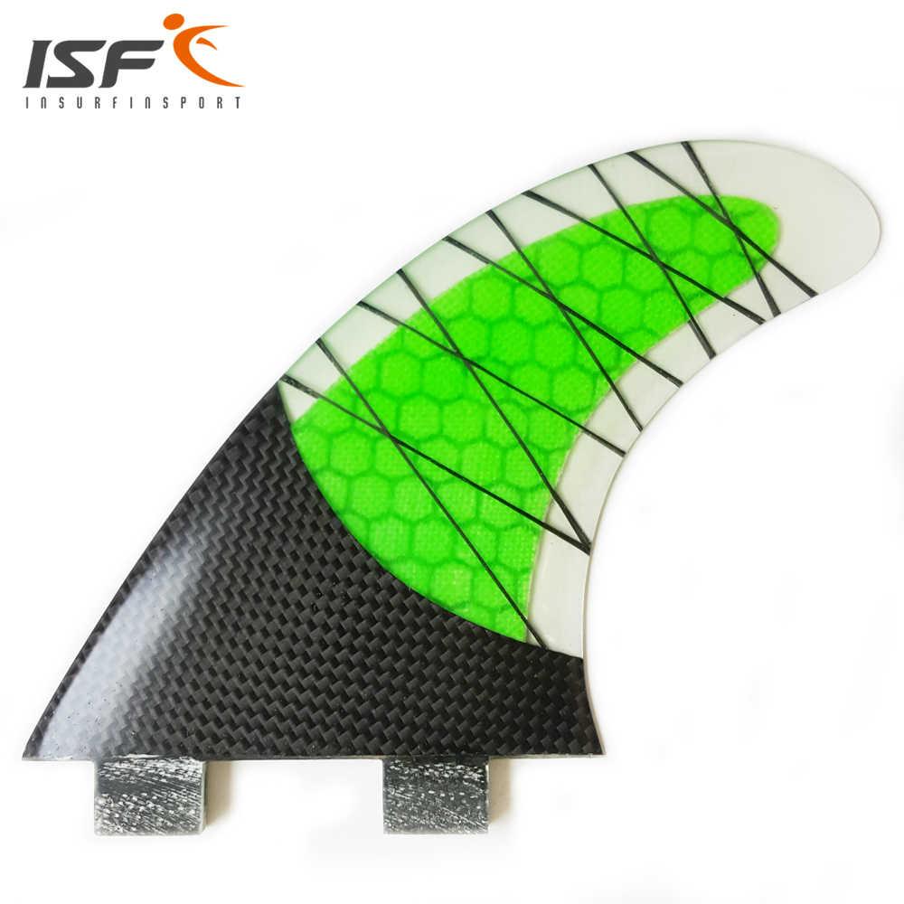 BARU Gaya FCS Fin Carbonfiber Hijau ukuran quilhas prancha de Surfing Sirip Papan Selancar G5