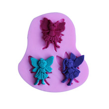 Beautiful three little angel sharp 3D Silicone cake fondant Mould tools Cookware Cake Decorating fondant mold 9238