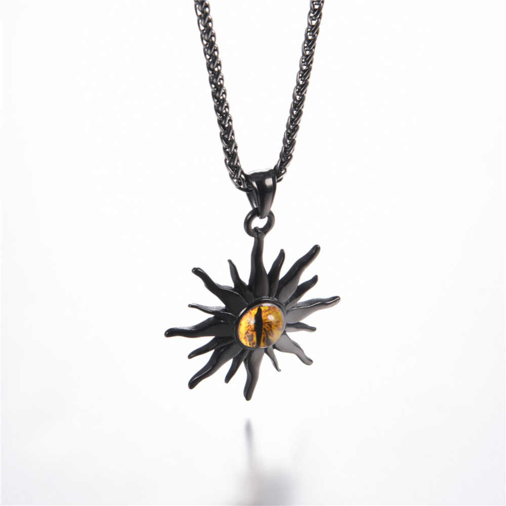 Kpop Fire Flame Eye Pendant Necklace Rock Punk Jewelry Stainless Steel Gold/Black Color Resin Star Sun Necklace for Men P3244