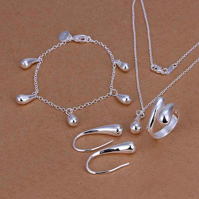 925-sterling silver fashion jewelry drop necklace & bracelet & ring adjustable & earrings ladies jewelry set SS223