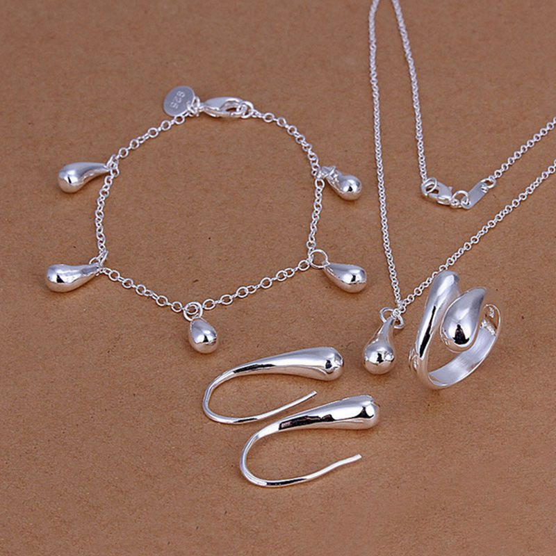 925-sterling silver fashion jewelry drop necklace & bracelet & ring adjustable & earrings ladies jewelry set SS223