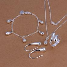 925-sterling silver fashion jewelry drop necklace & bracelet & ring adjustable & earrings ladies jewelry set SS223(China)