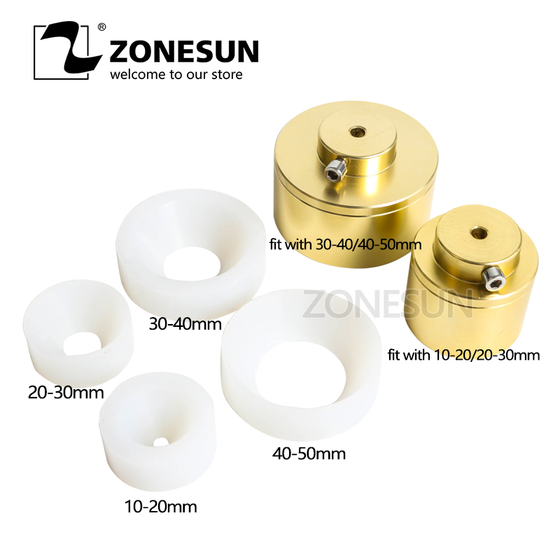 ZONESUN Capping Machine Chuck Cap For Capper 28-32mm 38mm 10- 50mm Round Plastic Bottle With Security Ring Silicone Capping